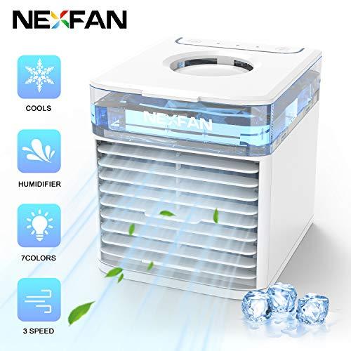 Mobile Klimageräte, 4 in 1 Klimaanlage, Luftbefeuchter und Luftreiniger, USB Mini Luftkühler mit Wassertank und 3 Leistungsstufen, 7 LED-Leuchten für Zuhause und Büro