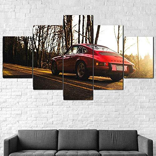 Cuadro En Lienzo Decoracion 5 Piezas HD Imagen Impresiones En Lienzo Coche Rojo Clásico Deportivo 912 Lienzo Grandes XXL Murales Pared 5 Paneles De Pinturas De Obras De Arte Moderno