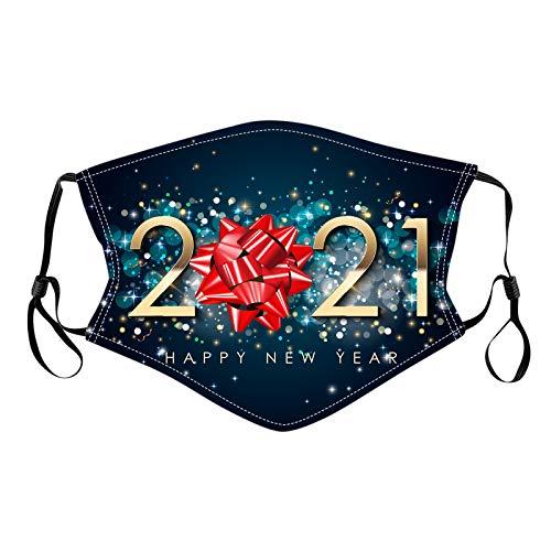 SHUANGA Mundschutz mit 2021 New Year Motiv Maske Waschbar Wiederverwendbar Stoffmaske Baumwolle Mund-Nasen Bedeckung Atmungsaktiv Multifunktionstuch Halstuch Schals für Damen