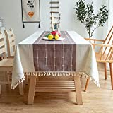XSlive Embroidery Tablecloth with Tassel,Dust-Proof Cotton Linen Table Cover for Kitchen,Washable Decorative Farmhouse Rectangle/Oblong Table Cloth Wedding,Dining Room,Holiday Table Top 55x86 Purple