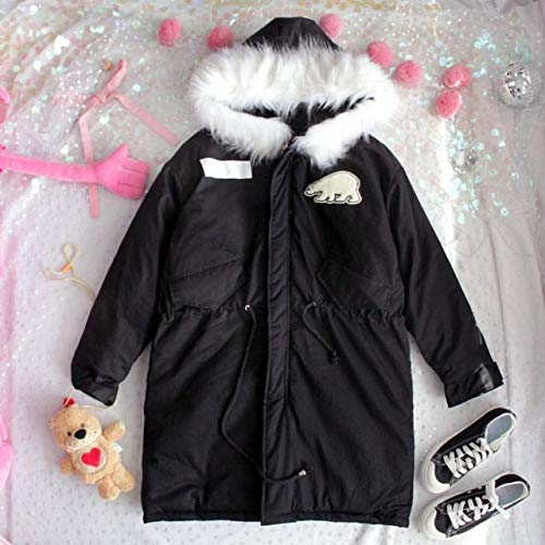 SMAWJD Daunenjacke Winter-Lange Jacke der neuen Entwurfs-Frauen Schwarze Jacken-Eisbär-Stickerei-weibliche Modell-Pelz-Kragen-Starke warme Baumwollkleidung, Schwarzes, eine Größe
