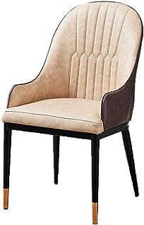 Sillas de Comedor con reposabrazos y Respaldo Suave, sillas de Comedor de Cuero Sillas para Cocina Sala de Estar,Beige
