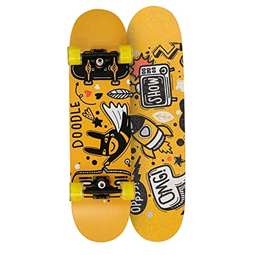 QUNHU Skateboard para Principiantes, 31 Pulgadas Complete Standard Skateboards Professional Skater, 7 Capas Canadiense Maple Double Kick Concave Skate Board (Color : Yellow)