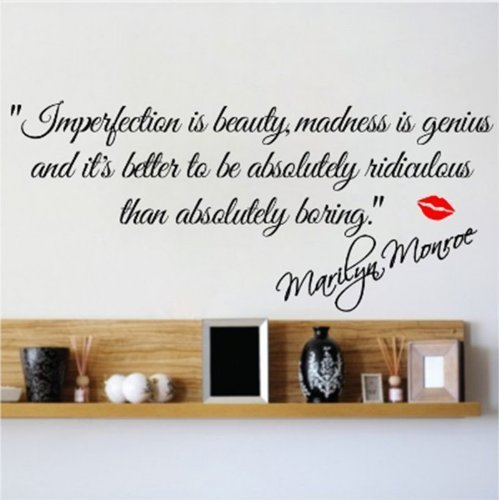 Decalgeek DG-MIIB-1 Imperfection is Beauty-Marilyn Monroe Wall Sticker Quote Decal Art Décor