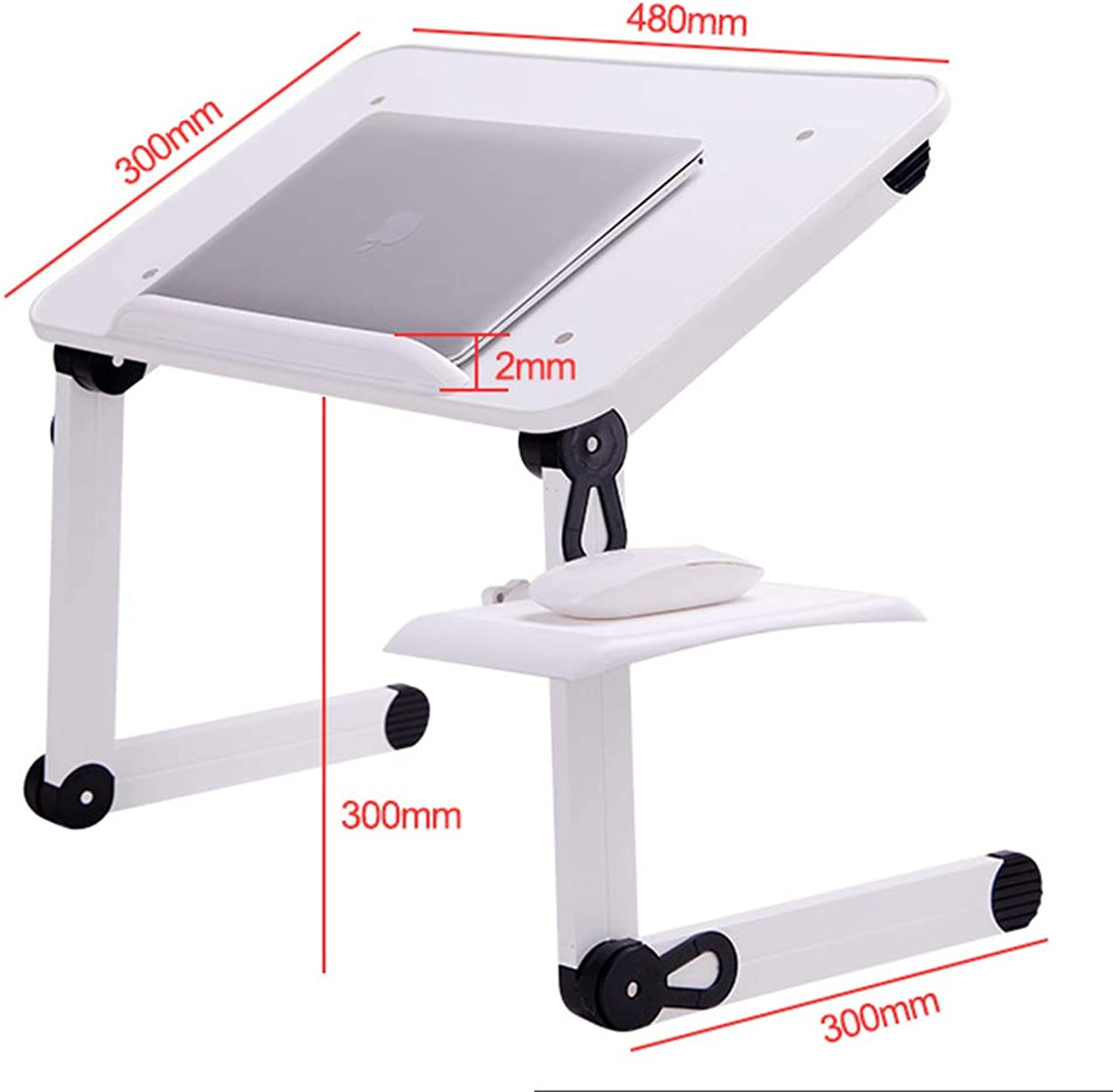 Folding Laptop Table Wood Height Adjustable Multi Purpose Indoor 2 colors (color   White, Size   B)