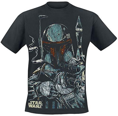 Star Wars Boba Fett Hombre Camiseta Negro 3XL, 100% algodón, Vintage Regular