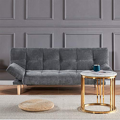 Ansley&HosHo Modern Living Room Sofa Bed 3 Seater Grey Fabric with Wood Legs, Convertible Sofa Couch with Upholstered Seat for Adult Friheten Sleeper for Bedroom Home Office Reception Room