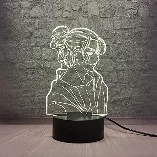Colyya Eren Jaeger Night Light Anime Attack on Titan 3D - Lámpara de papel cómico para niño, línea creativa, 7 colores que cambian cable USB para adolescentes o habitación