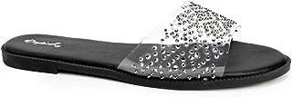 Qupid Desmond Slides for Women - Clear Single Band Rhinestone Slip On Sandals