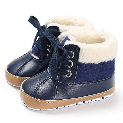 TIMATEGO Infant Baby Boys Girls Snow Boots Non Slip Soft Sole Toddler First Walker Crib Warm Winter Shoes 3-18 Months, 10 Navy, 3-6 Months Infant