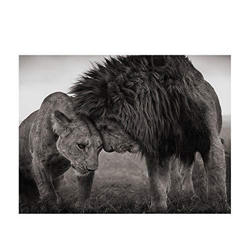 Rjunjie leeuwenkop op kop zwart-wit afbeeldingen op doek poster en afdrukken wandafbeeldingen afbeelding voor de woonkamer decoratie (60x70 cm zonder lijst)
