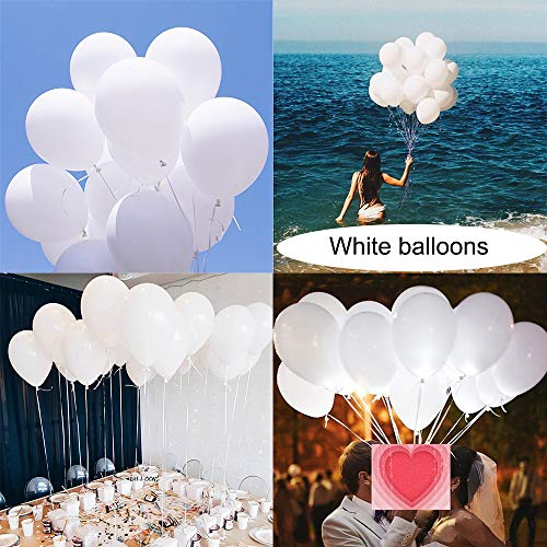 Latex White Balloons for Party 100 pcs 12 inch Macaron White Balloons for Baby Shower Birthday Wedding Engagement Anniversary Festival Picnic or any Friends & Family Party Decorations