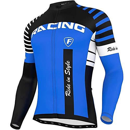 FDX - Maglia da ciclismo da uomo Blaze a maniche lunghe, in pile termico, da corsa Blu L