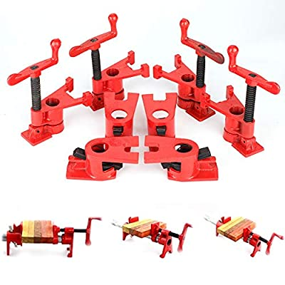 "3/4"" Wood Gluing Pipe Clamp Set 4 Pack Heavy Duty Cast Iron Quick Release pipe clamps with Wide Base for Woodworking from Liusin"