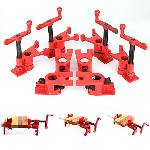 """3/4"""" Wood Gluing Pipe Clamp Set 4 Pack Heavy Duty Cast Iron Quick Release pipe clamps with Wide Base for Woodworking"""