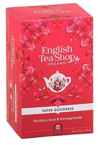 English Tea Shop Organic Infusion of Rooibos, Pomegranate and Acai Berries Made in Sri Lanka - 1 x 20 Tea Bags (30 Grams)