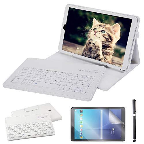 REAL-EAGLE Galaxy Tab A 10.5 2018 Teclado Funda(QWERTY), Funda de Cuero con Desmontable Inalámbrico Bluetooth Teclado para Samsung Galaxy Tab A 10.5 2018 SM-T590/T595 (Galaxy Tab A 10.5 2018, White)