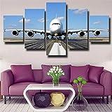 BDFDF Cuadro En Lienzo 5 Pieza Pintura En Lienzo Avión Airbus A380 Airport Runway Arte De La Pared 5 Piezas Imagen Impresión En Lienzo Imagen De Pared Decoración del Hogar
