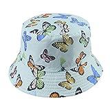 Chutoral Sombrero de pescador de verano con patrón de mariposa, sombrero de pescador de playa, doble cara, plegable, protección solar