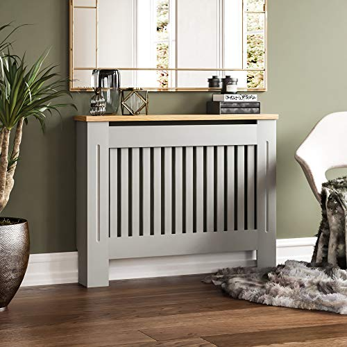 Vida Designs Arlington Radiator Cover Grey Modern Painted MDF Cabinet, Slats, Grill, Wood Top Shelf, Medium