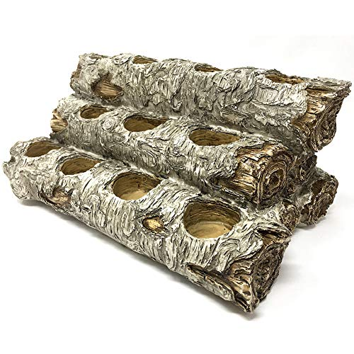 USAWAREHOUSE Tealight Fireplace Log Candle Holder (12 inches Long), Fireplace Candle Holder (Birch)