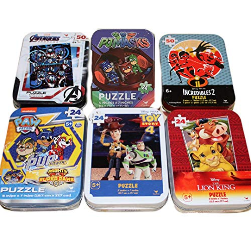 6 Collectible Puzzle Tins Ages 5+ Gift Set Bundle Lion King, Paw Patrol, Toy Story 4, Incredibles 2, Marvel Avengers, PJ Masks - 24/50 Pieces