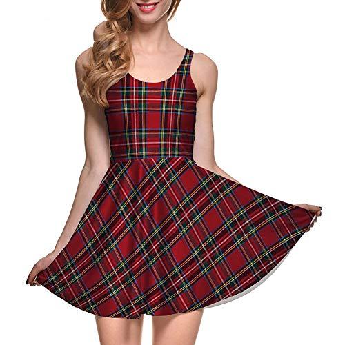 GYYWAN Vestido De Verano Sexy Girl Tartan Red Plaid Stripes Imprime Reversible Chaleco Skater Mujeres Vestido Plisado Más Tamaño