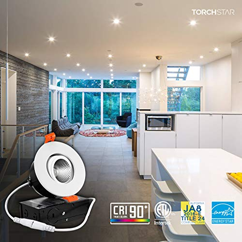 TORCHSTAR 3 Inch Gimbal LED Dimmable Recessed Light with J-Box, 7W (50W Eqv.) 500lm, Airtight, ETL/Energy Star, CRI 90+, 3000K Warm White, 5 Years Warranty, White, Pack of 6