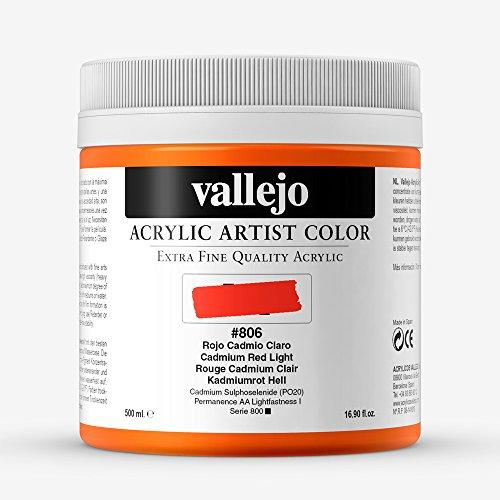 Vallejo : Artist Acrylic Paint : 500ml Pot : Cadmium Red Light
