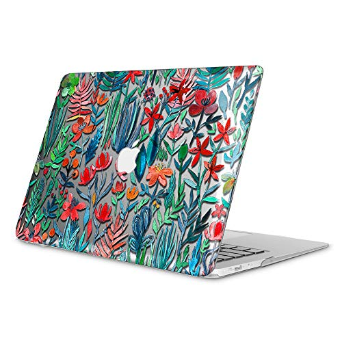 FINTIE Case for MacBook Air 13 Inch, Fits Previous Generations A1466 / A1369 - (Will Not Fit MacBook Air 13 A2179 / A1932), Slim Snap On Hard Shell Protective Cover, Transparent Jungle Night