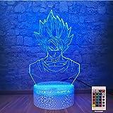 Dragon Ball Super Saiyan God Goku Action Figures 3D LED Lamp RGB Lighting 7 Color Change Bedroom Night Light Children Toys (Saiyan)