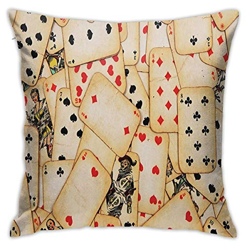 Pillow 18inch*18inch Casino Decorations Old Playing Cards Vintage Classic Style Entertaining Wealth Fortune Theme Pillow,Pillowcase Decorative Square Sofa Bedroom Car - No Inserts Included