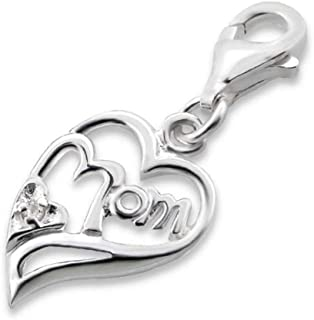 Sterling Silver Heart Charm with Lobster Clasp