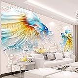 SDzuile Fotomurales 3D Decorativos Pared Salon Color Peces De Colores Loto Creatividad. 450X300Cm No Tejido Autoadhesivo Papel Tapiz Dormitorio Pegatinas De Wallpaper Sala De Estar Cocina Niño Ni