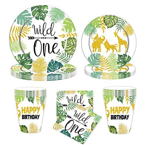 JeVenis 64 PCS Jungle Animals Partyzubehör Jungle Party Teller Wild One Geburtstagsfeierzubehör Wild One Party bevorzugt Wild One Partyzubehör