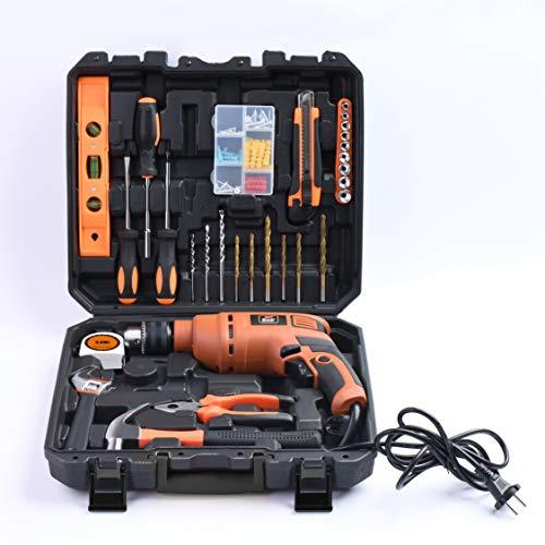 JK Super Drive Professional Tool Kit with 13mm (550Watt) Heavy duty Impact Drill Machine, (Orange, 98 pcs set)