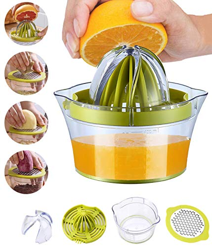 Snowpea Manuelle Saftpresse Zitronenpresse Spülmaschinenfest, Multifunktionale Orangen-, Zitrus-, Limettenpresse, Handfruchtpresse mit Messbehälter, 400 ml