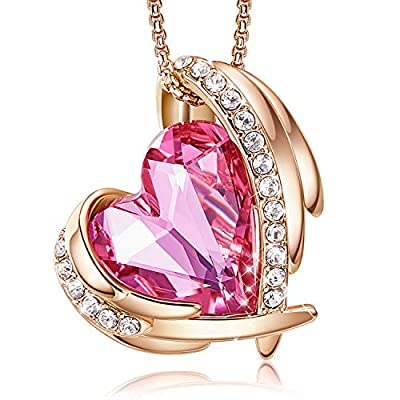 CDE 18K White/Rose Gold Necklaces for Mother's Day Jewelry Gifts for Women, Heart Pendants Embellished with Crystals Birthstone from Swarovski