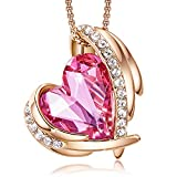 CDE Love Heart Pendant Necklaces for Women Silver Tone Rose Gold Tone Crystals Birthstone Valentines Day Jewelry Gifts for Women Her Party/Anniversary Day/Birthday
