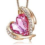 Colliers en or rose pour femmes avec pendentifs cœur embellis avec des cristaux de colliers bijoux cadeau pour femmes filles Bijoux Soirée Cadeau de fête des mères avec Paquet exquis CDE (Or/Rose)