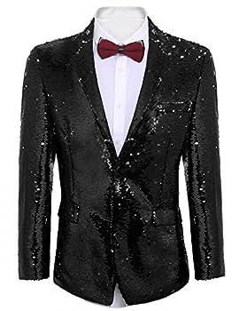 COOFANDY Shiny Sequins Suit Jacket Blazer One Button Tuxedo for Party,Wedding,Banquet,Christmas,Nightclub Black Medium