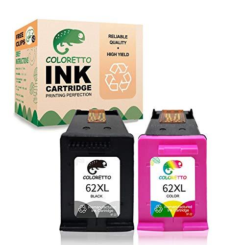 COLORETTO Druckerpatronen kompatibel für HP 62XL für HP Officejet 200 200c 250 258 Envy 5540 5541 (1 Schwarz,1 Farbe)