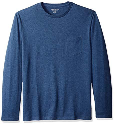 Amazon Essentials Regular-Fit Long-Sleeve T-Shirt Available Pocket Camiseta, Azul Brezo, XXL