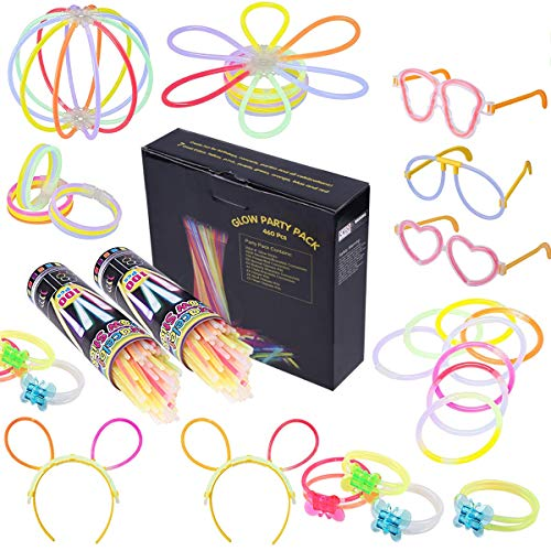 Osaloe 460-teiliges Set Knicklichter Leuchtstäbe Armbänder Glowstick mit Steckverbindern, Dreifache Armbänder, EIN Stirnband, Ohrringe, Blumen, Eine glühkugel & vieles