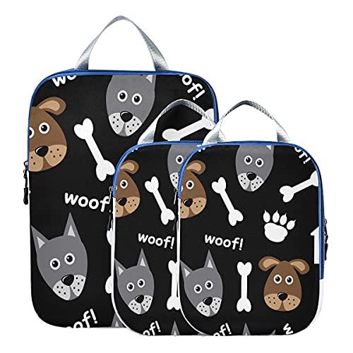 Packwürfel Komprimierbarer Cartoon Nahtlos Mit Hunden Und Hundezubehör Reisezubehör Packwürfel Erweiterbare Reise Packwürfel für Handgepäck, Reise (3er-Set)