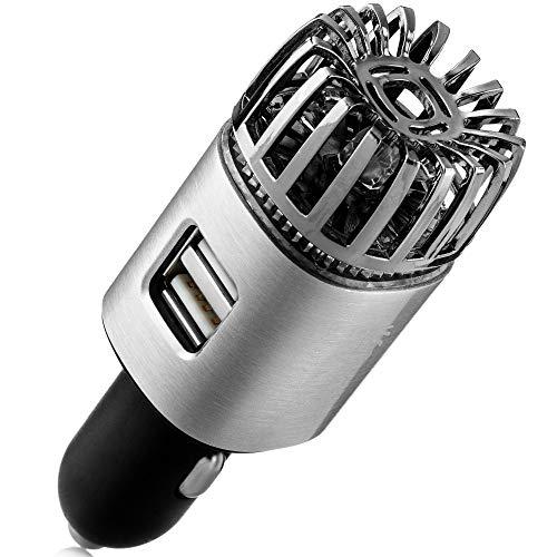 Purificador de aire ionizador de coche – 12 V Plug-in Ionic Anti-Microbial Coche Desodorizador con Dual USB – Olor de humo, olores...