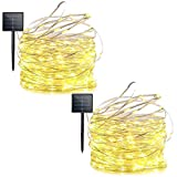 Lalapao 2 Pack Solar Powered LED Christmas String Lights 200 LED Xmas Copper Wire Starry Fairy Lights Waterproof Decorative Lighting with 8 Modes for Outdoor Indoor Tree Bedroom Garden (Warm White)