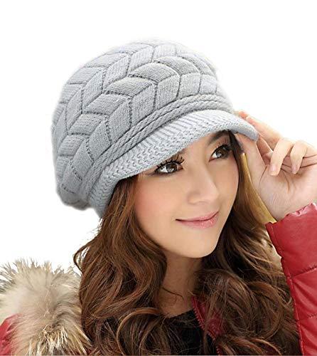 HINDAWI Winter Hats for Women Girls Warm Wool Knit Snow Ski Skull Cap with Visor (Grey)