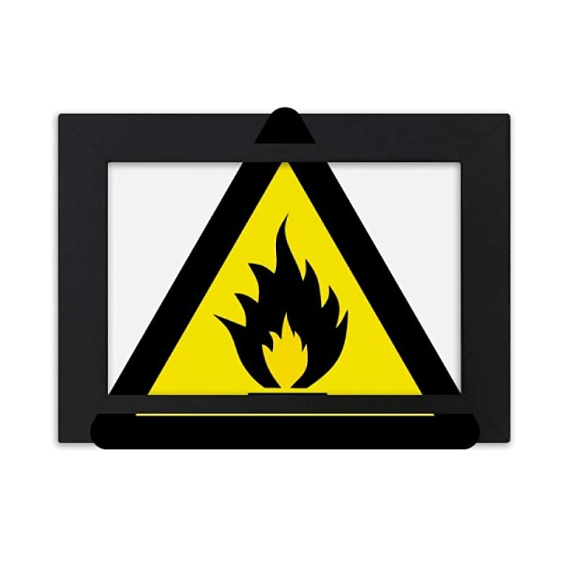 ホバートペルーホバート警告シンボルイエローブラックファイア?トライアングル デスクトップフォトフレーム画像ブラックは、芸術絵画7 x 9インチ