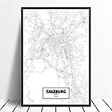 Leinwanddruck,Salzburg Schwarz Weiß Benutzerdefinierte